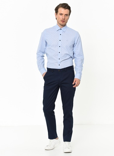Beymen Business 4B2019200049 Mavi Slim Fit Gömlek Çizgili Mavi